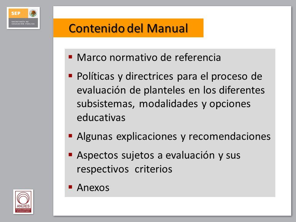 Contenido del Manual Marco normativo de referencia