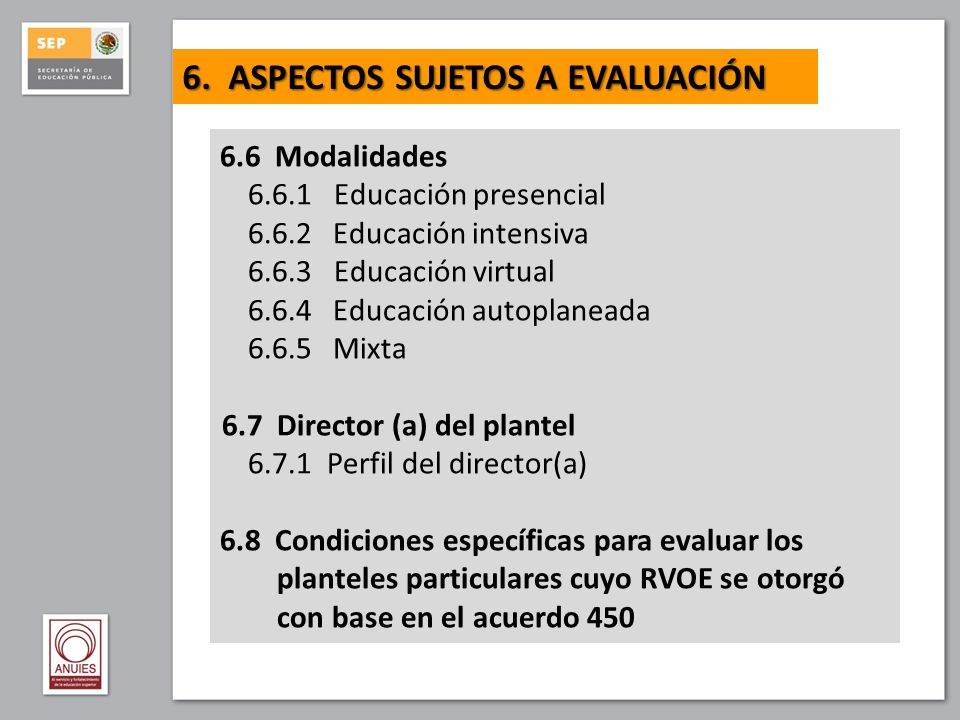 6. ASPECTOS SUJETOS A EVALUACIÓN