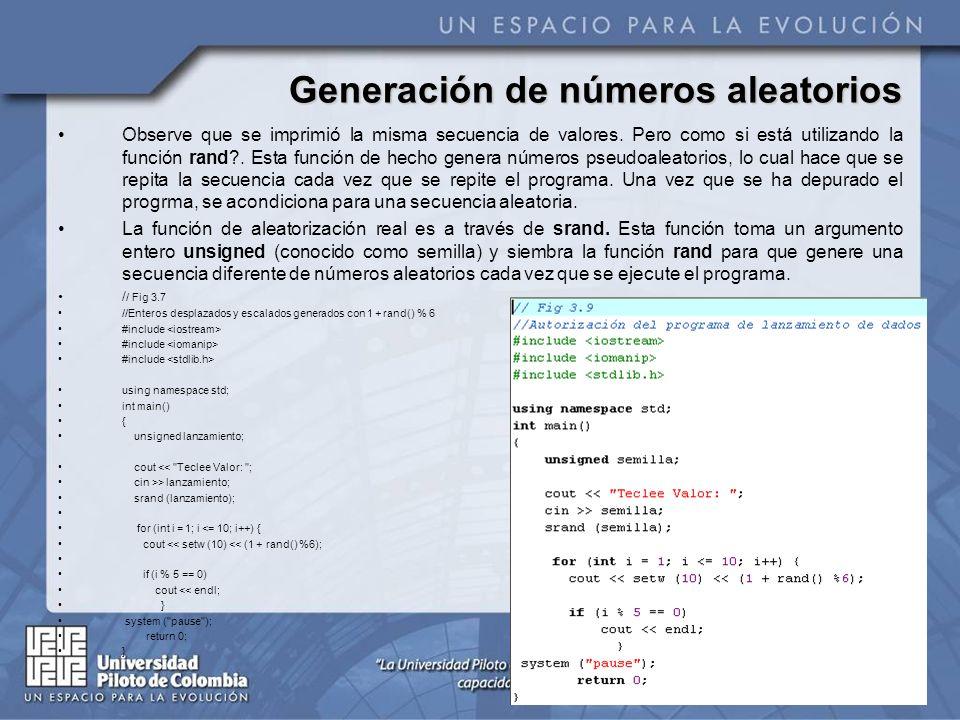 Generación de números aleatorios