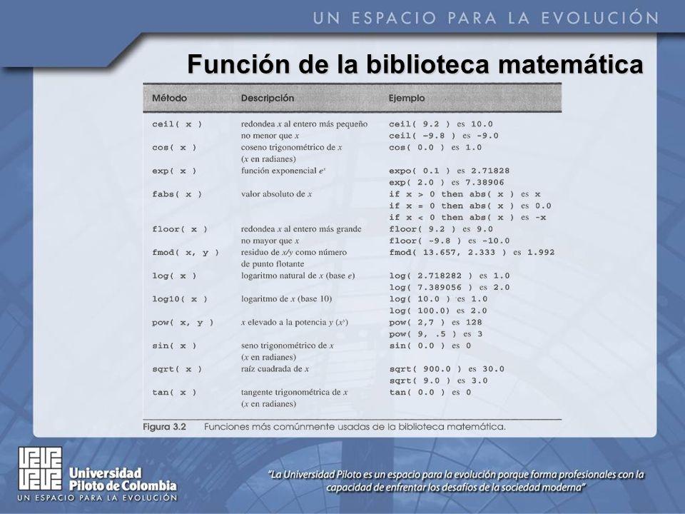 Función de la biblioteca matemática