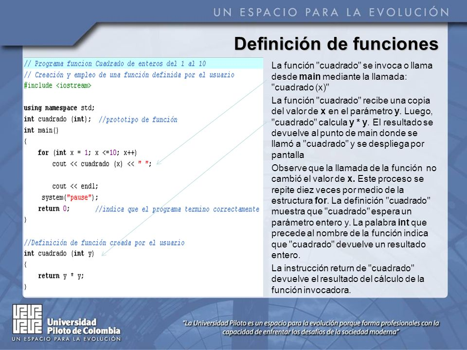 Definición de funciones