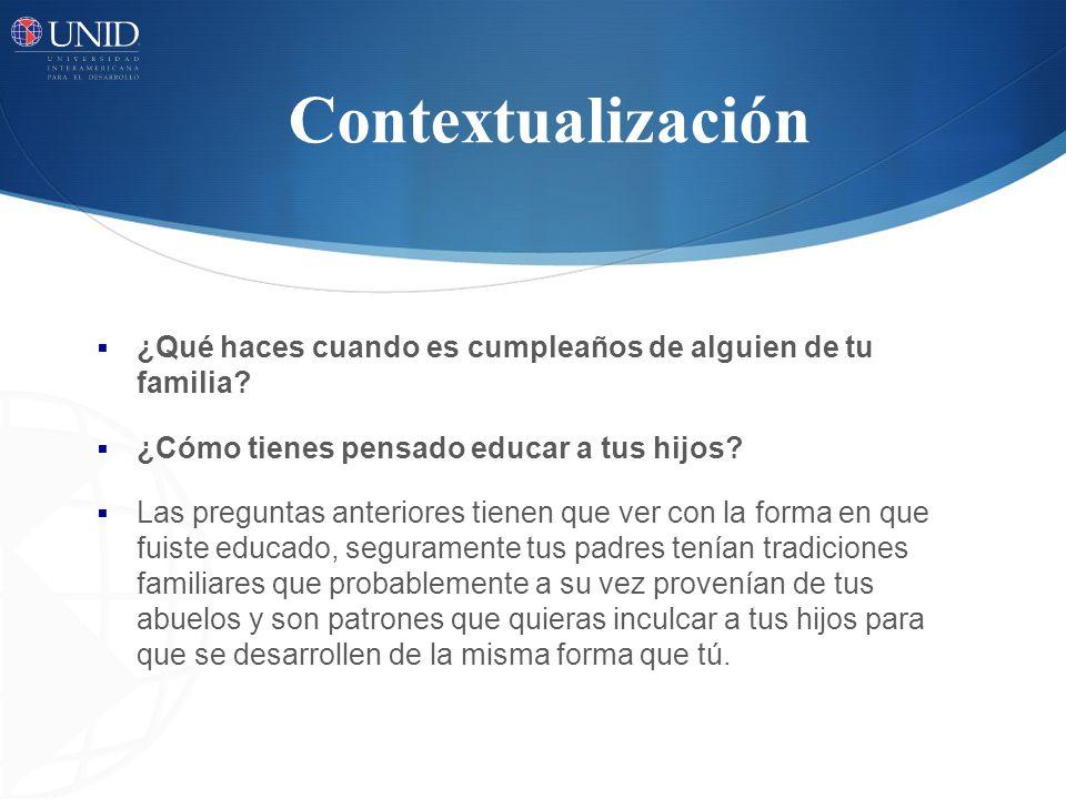 Contextualización ¿Qué haces cuando es cumpleaños de alguien de tu familia ¿Cómo tienes pensado educar a tus hijos