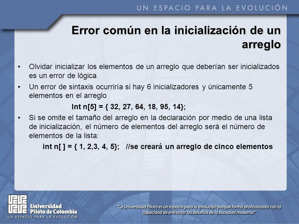 Error común en la inicialización de un arreglo