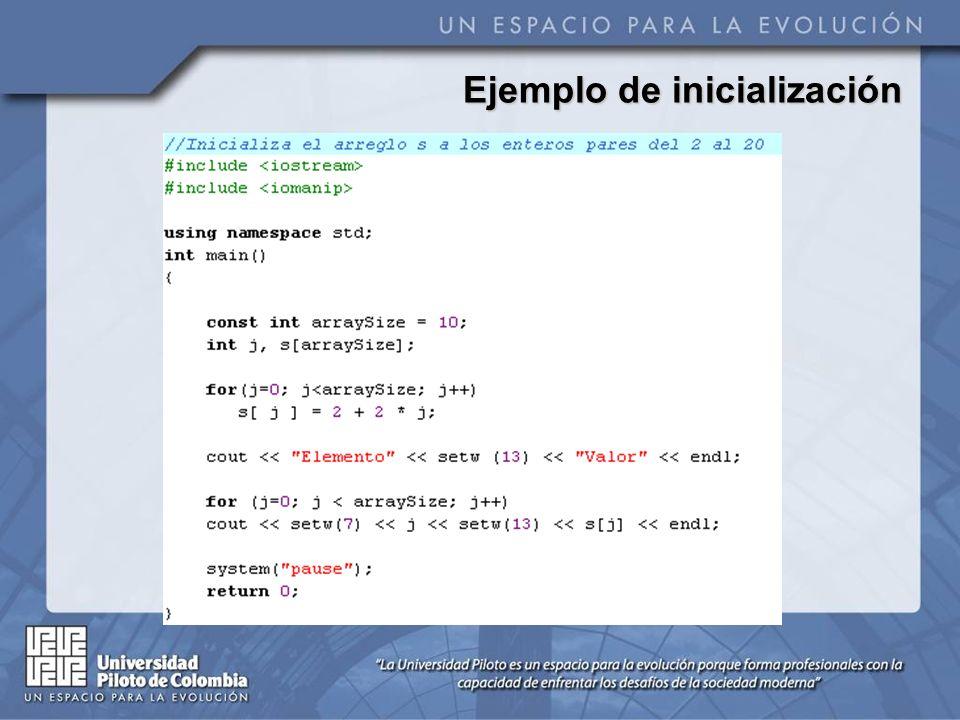 Ejemplo de inicialización