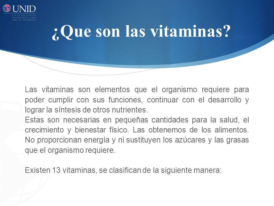 ¿Que son las vitaminas