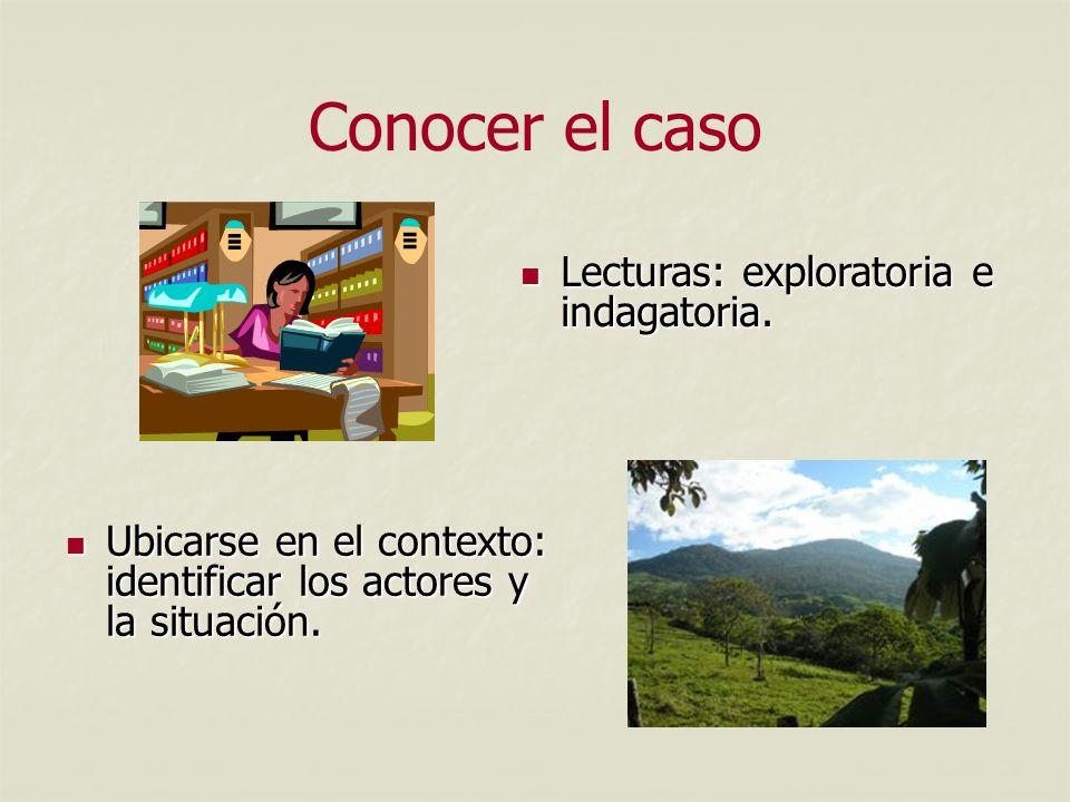 Conocer el caso Lecturas: exploratoria e indagatoria.