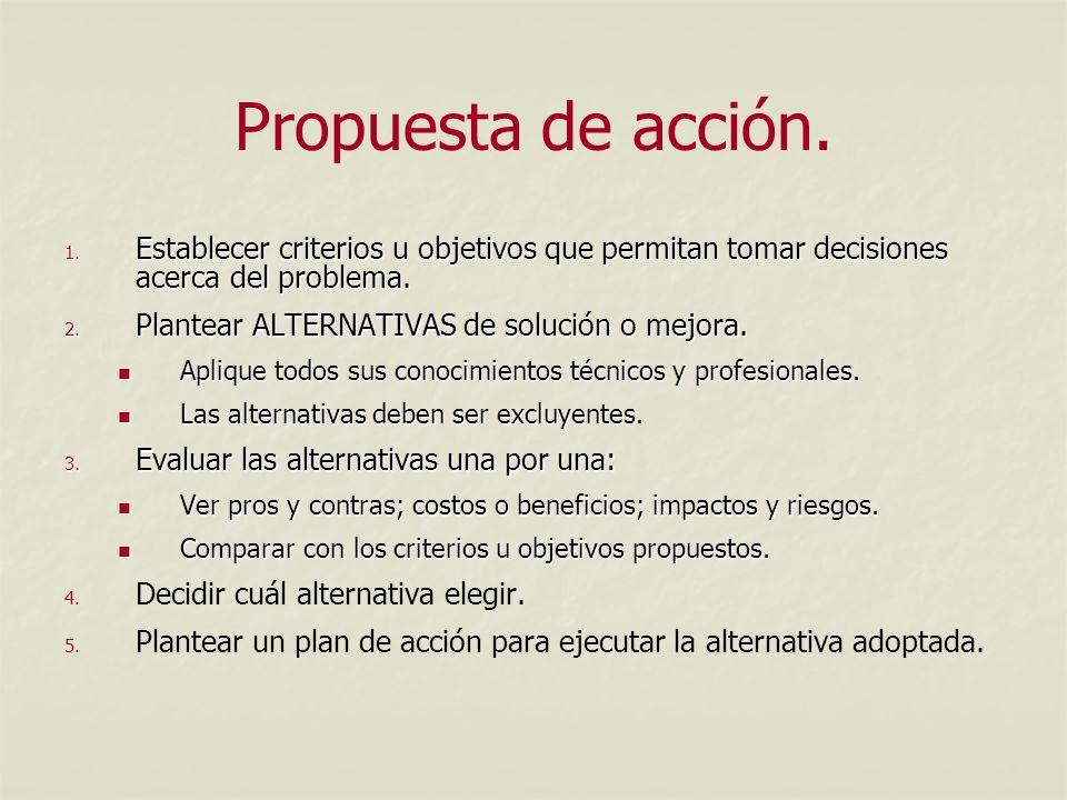 Propuesta de acción. Establecer criterios u objetivos que permitan tomar decisiones acerca del problema.