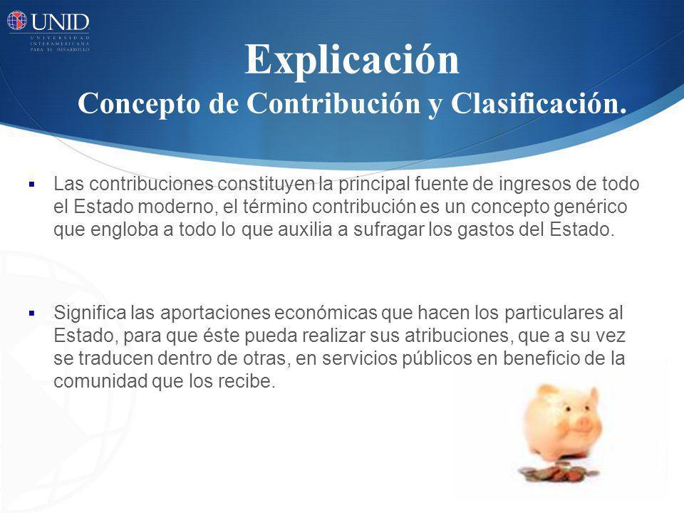Explicación Concepto de Contribución y Clasificación.