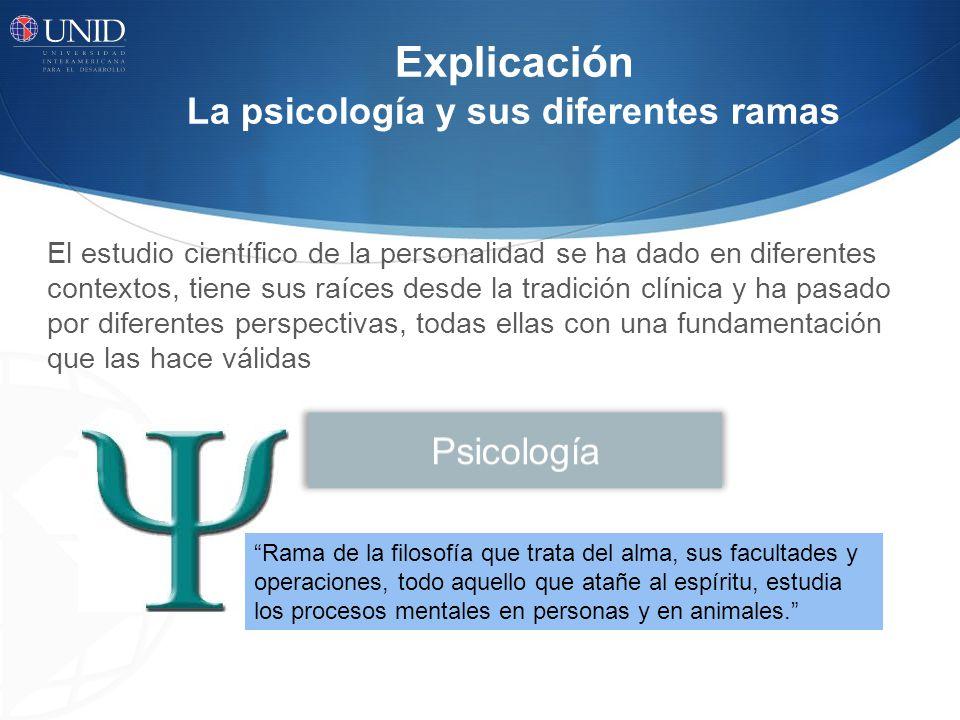 Explicación La psicología y sus diferentes ramas