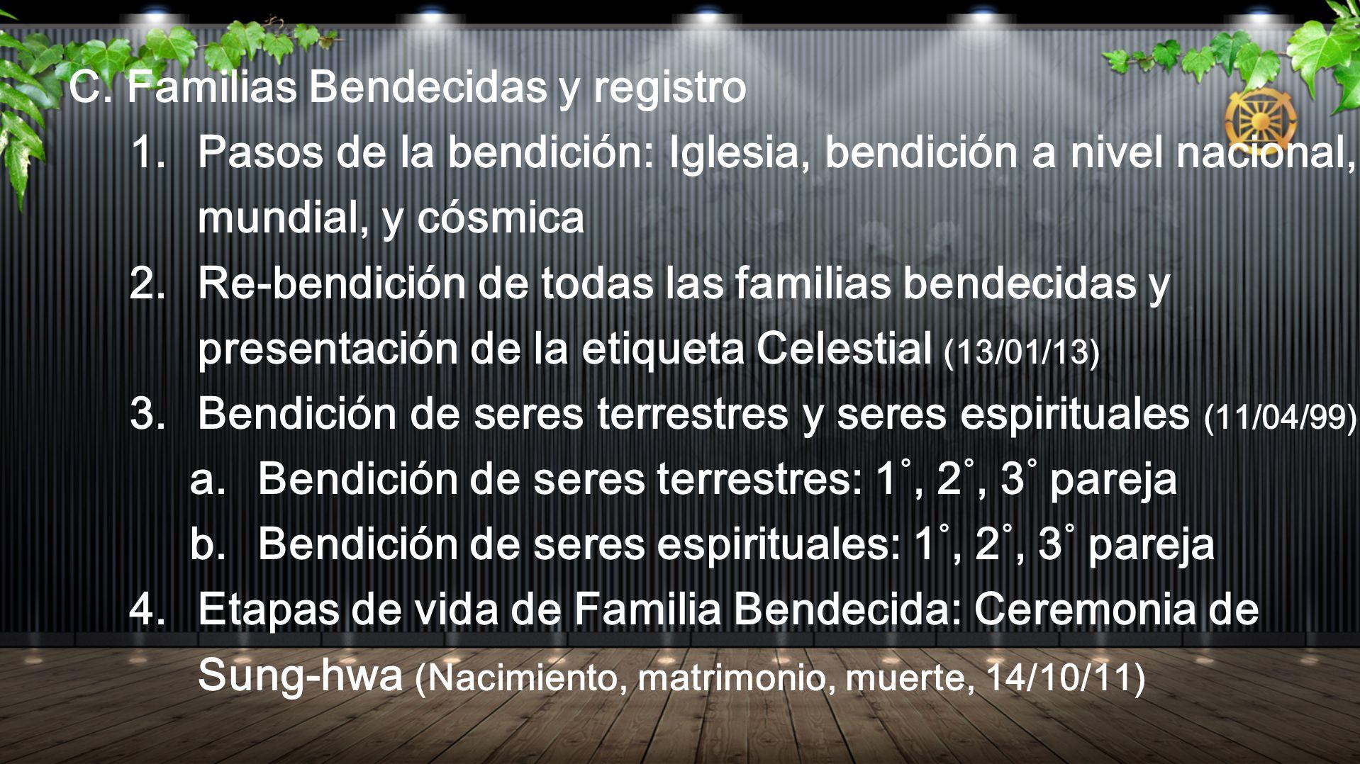 C. Familias Bendecidas y registro