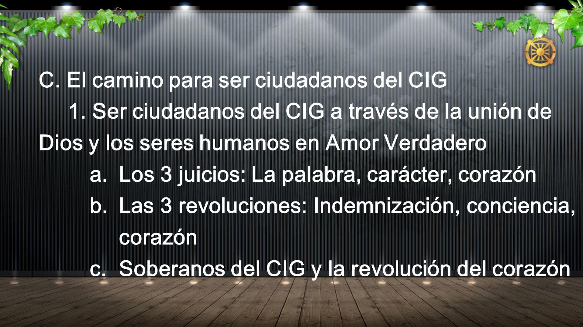 C. El camino para ser ciudadanos del CIG