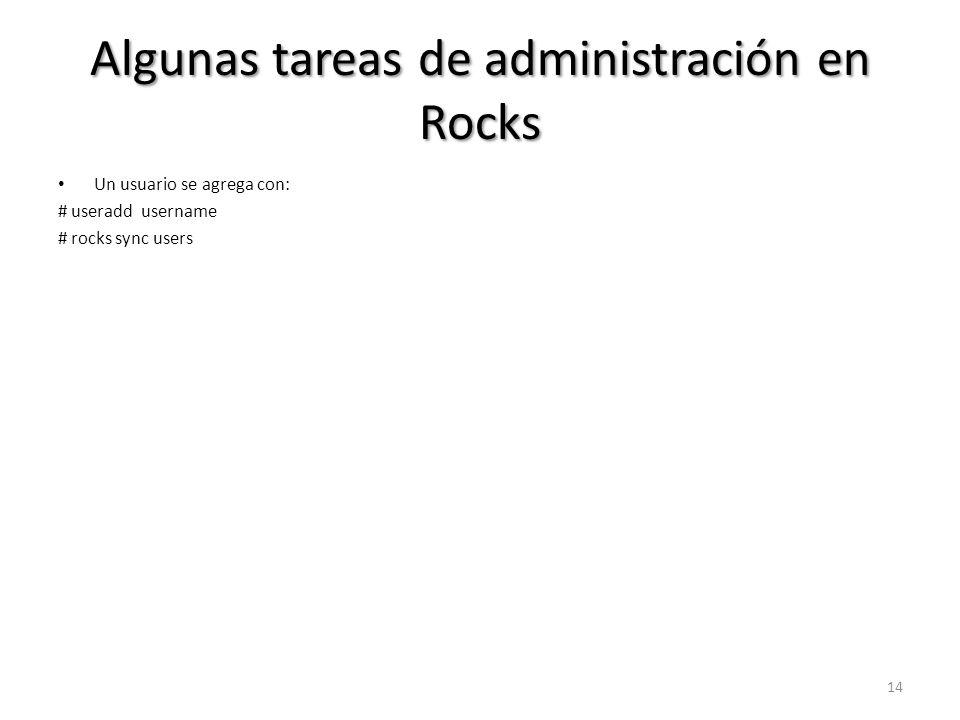 Algunas tareas de administración en Rocks
