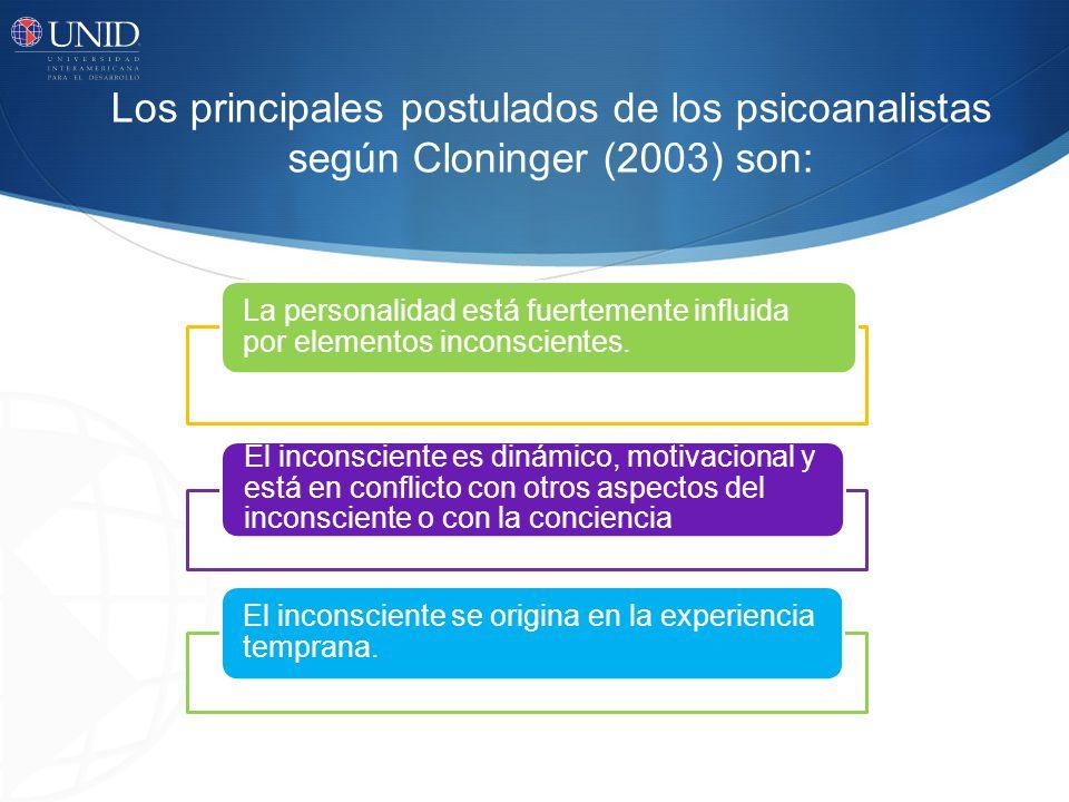 Los principales postulados de los psicoanalistas según Cloninger (2003) son: