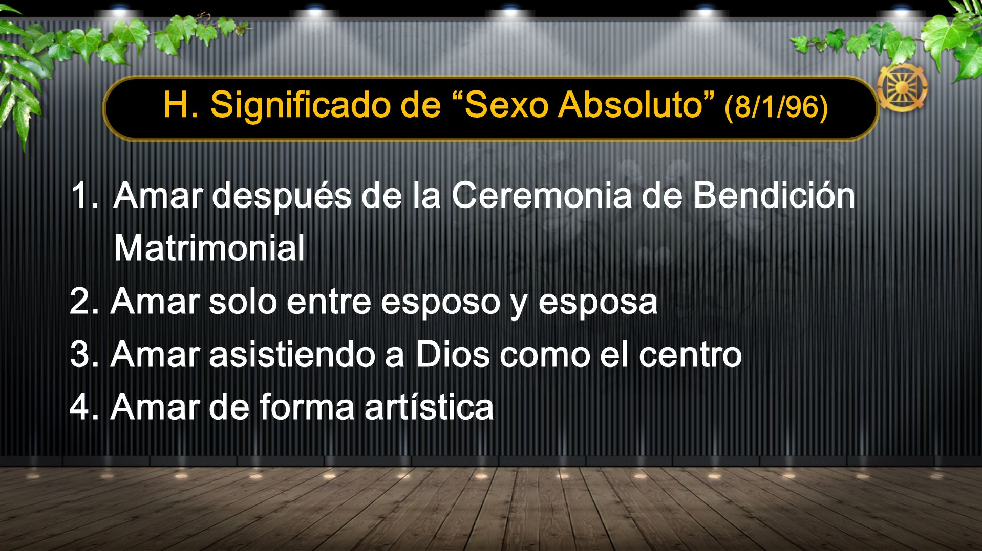 H. Significado de Sexo Absoluto (8/1/96)