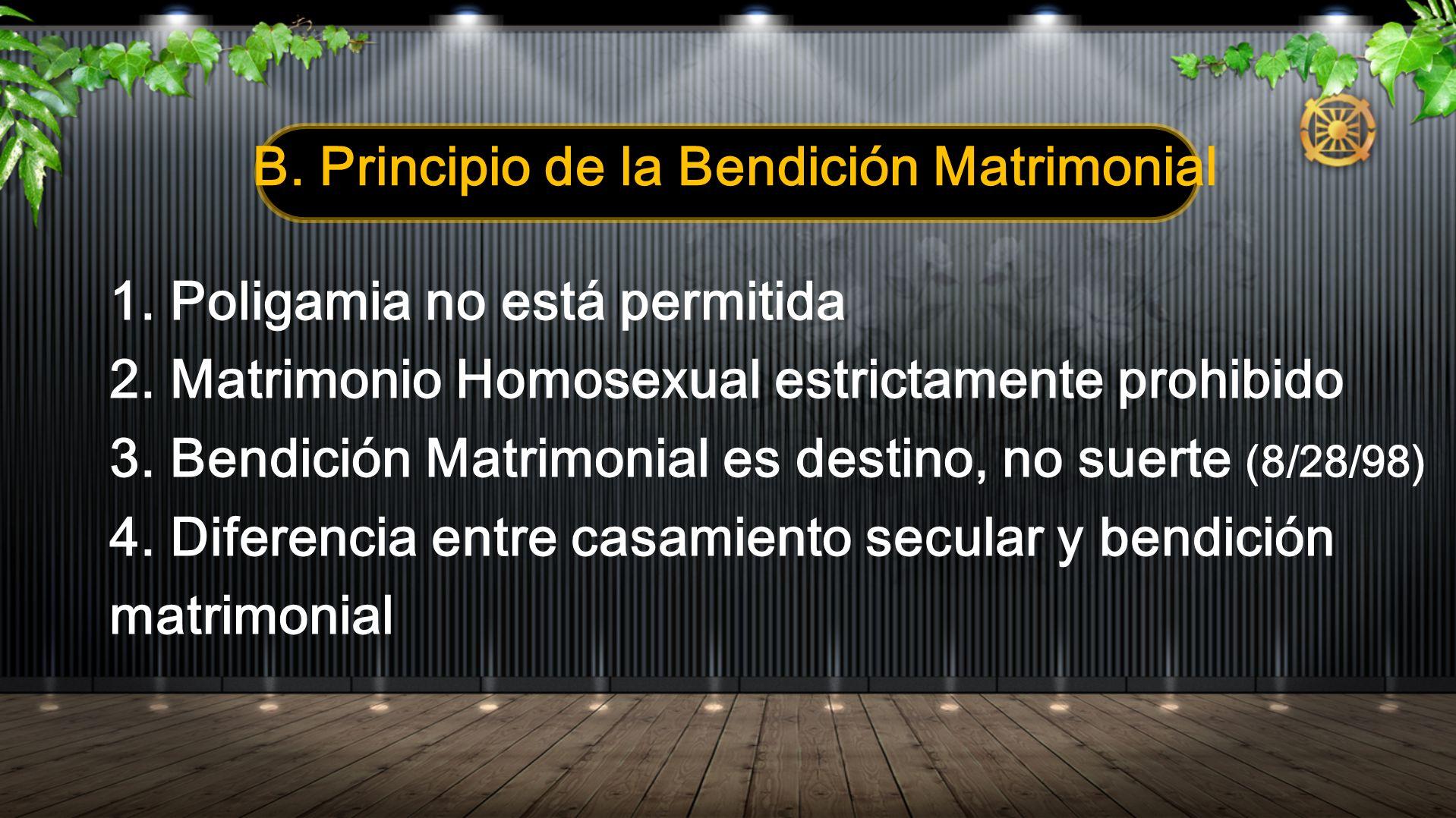 B. Principio de la Bendición Matrimonial