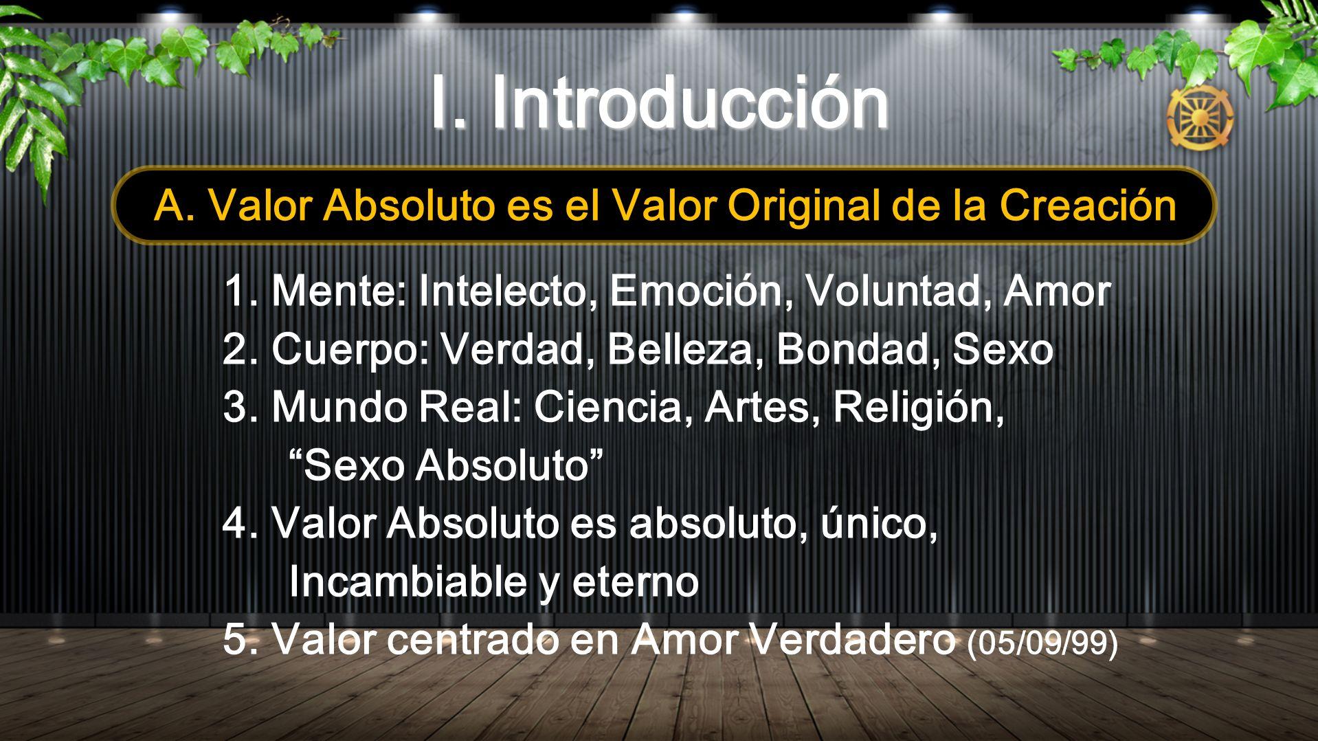 A. Valor Absoluto es el Valor Original de la Creación