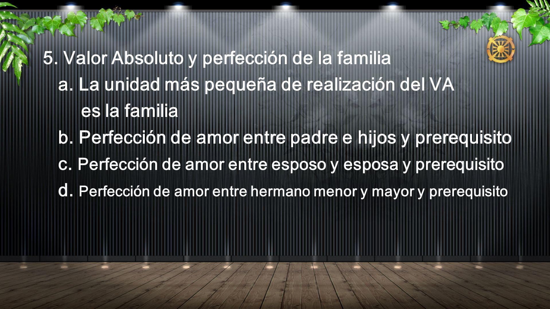 5. Valor Absoluto y perfección de la familia