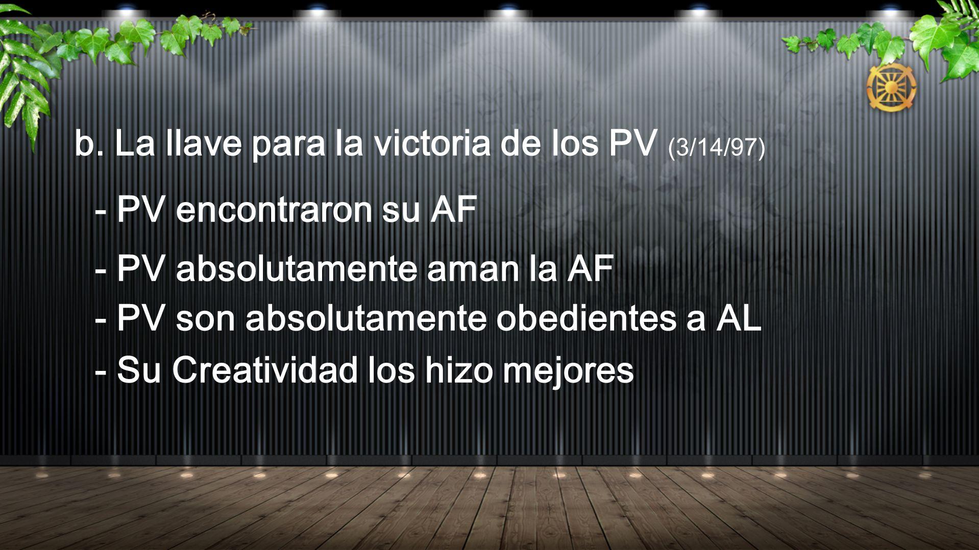 b. La llave para la victoria de los PV (3/14/97)
