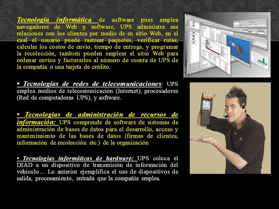 Tecnología informática de software pues emplea navegadores de Web y software, UPS administra sus relaciones con los clientes por medio de su sitio Web, en el cual el usuario puede rastrear paquetes, verificar rutas, calcular los costos de envío, tiempo de entrega, y programar la recolección, también pueden emplear el sitio Web para ordenar envíos y facturarlos al número de cuenta de UPS de la compañía o una tarjeta de crédito.
