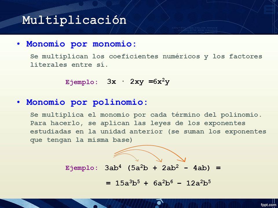 Multiplicación Monomio por monomio: Monomio por polinomio: 3x ∙ 2xy =