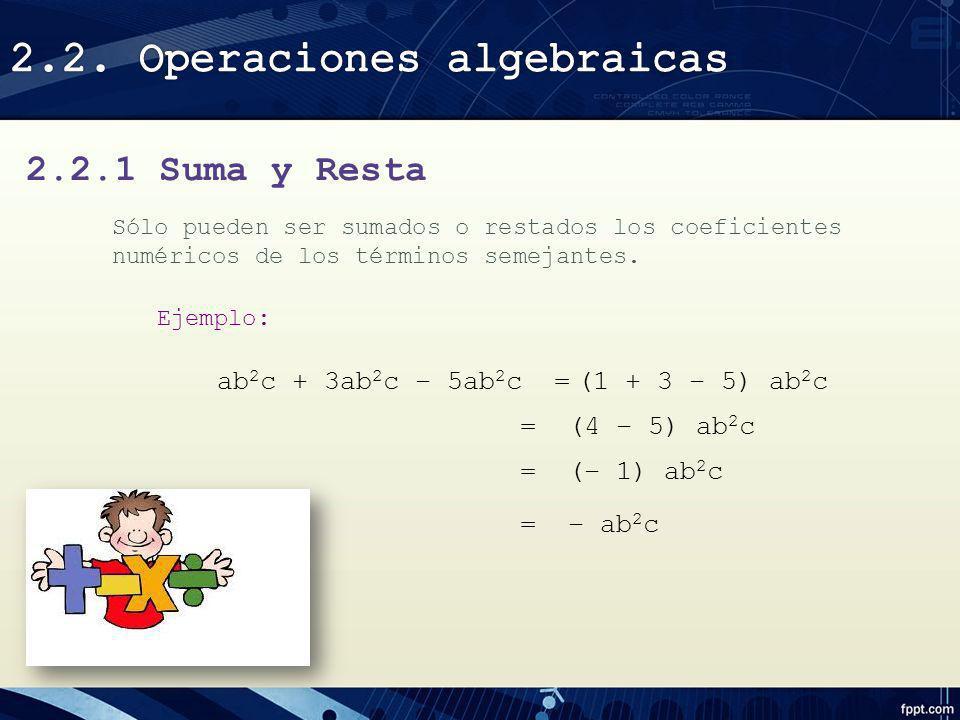 2.2. Operaciones algebraicas