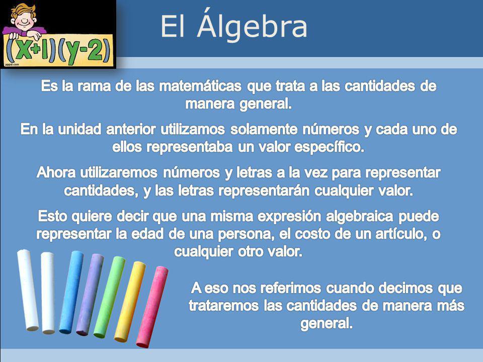 El Álgebra Es la rama de las matemáticas que trata a las cantidades de manera general.