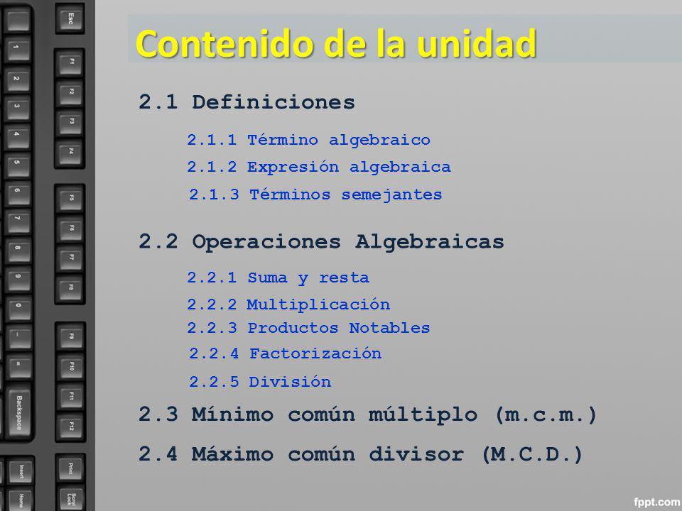Contenido de la unidad 2.1 Definiciones 2.2 Operaciones Algebraicas