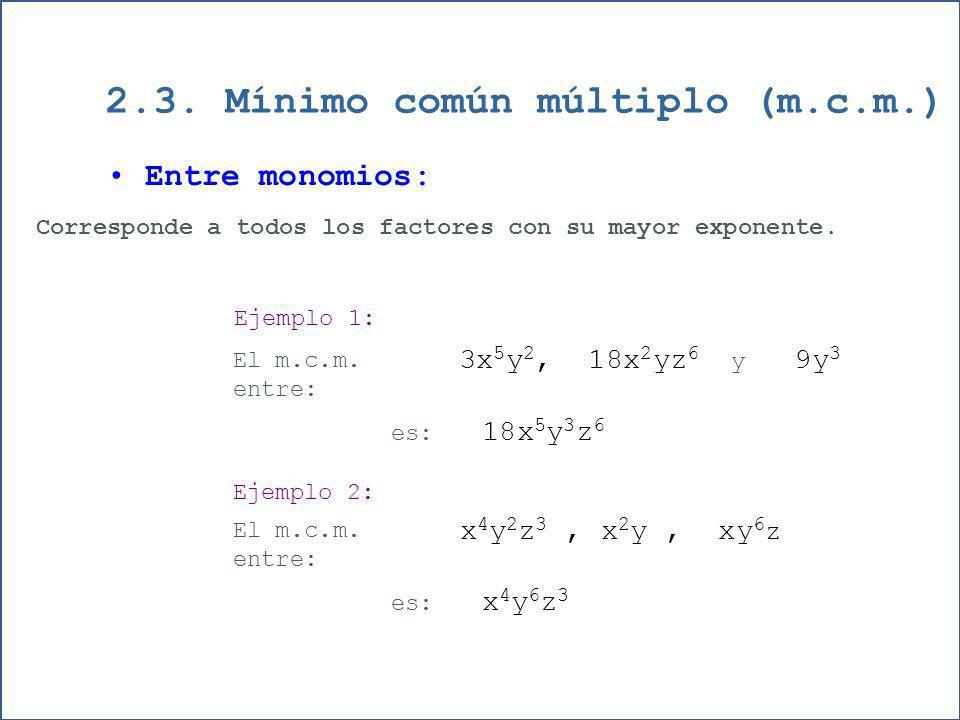 2.3. Mínimo común múltiplo (m.c.m.)