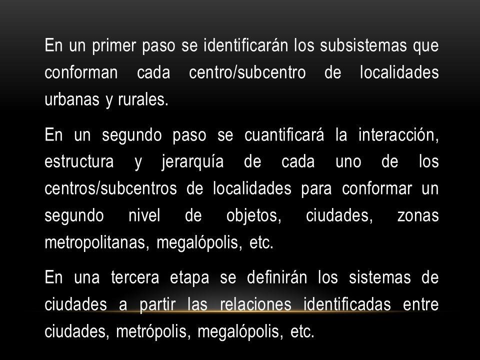 En un primer paso se identificarán los subsistemas que conforman cada centro/subcentro de localidades urbanas y rurales.