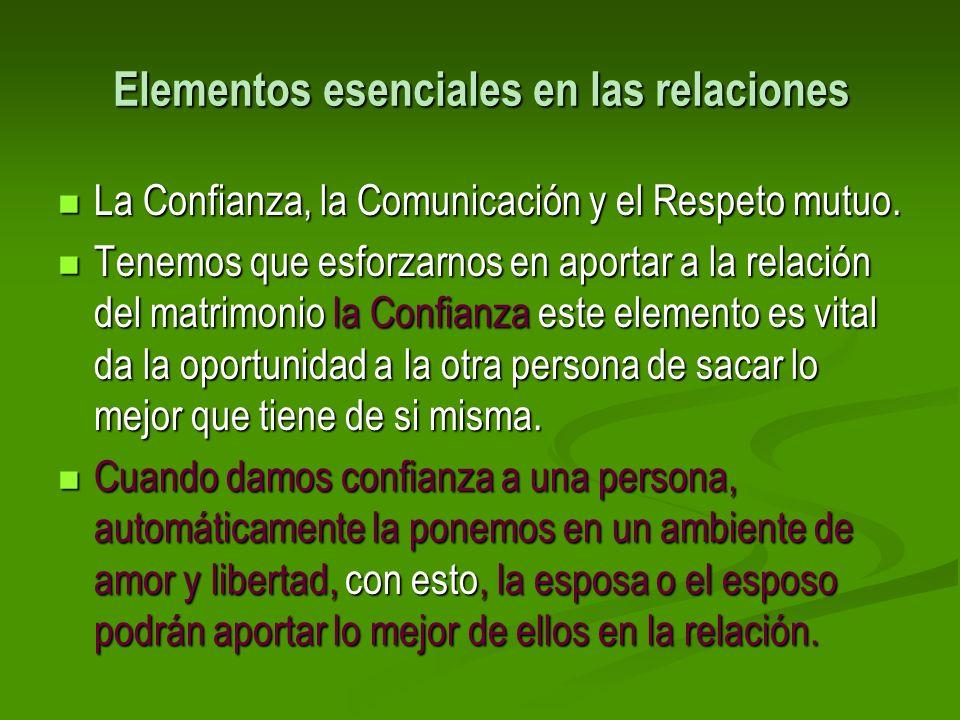Elementos esenciales en las relaciones