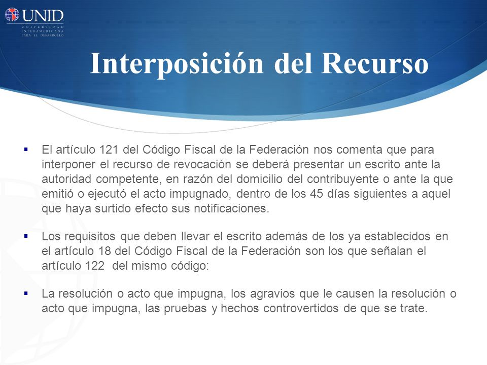 Interposición del Recurso