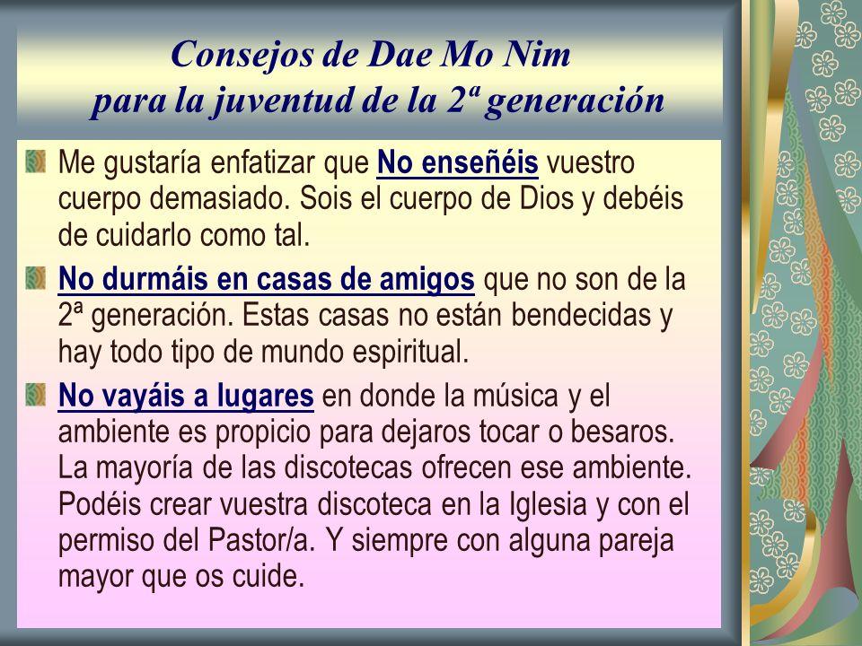 Consejos de Dae Mo Nim para la juventud de la 2ª generación