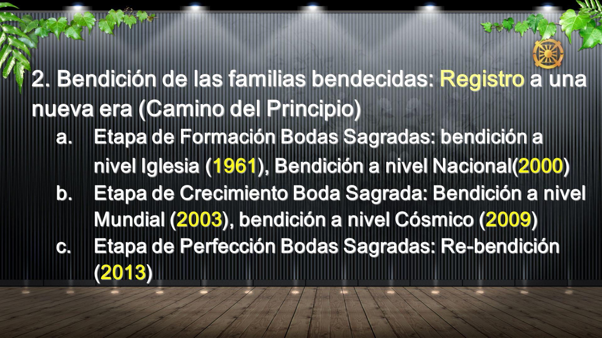 2. Bendición de las familias bendecidas: Registro a una nueva era (Camino del Principio)