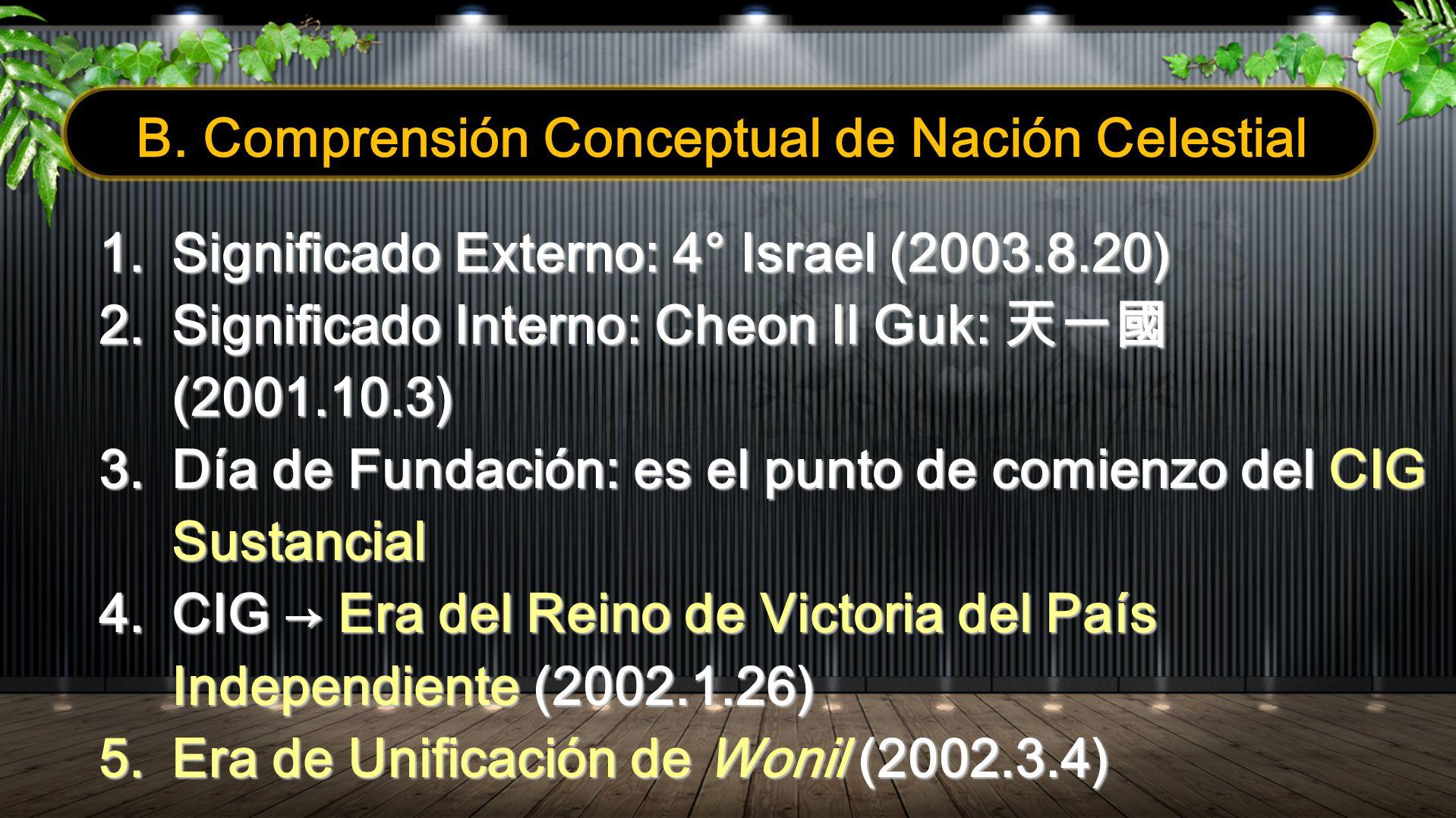 B. Comprensión Conceptual de Nación Celestial