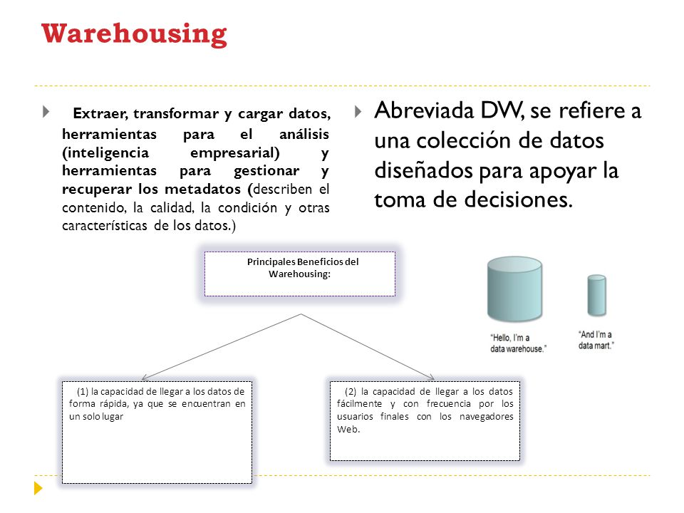 Principales Beneficios del Warehousing: