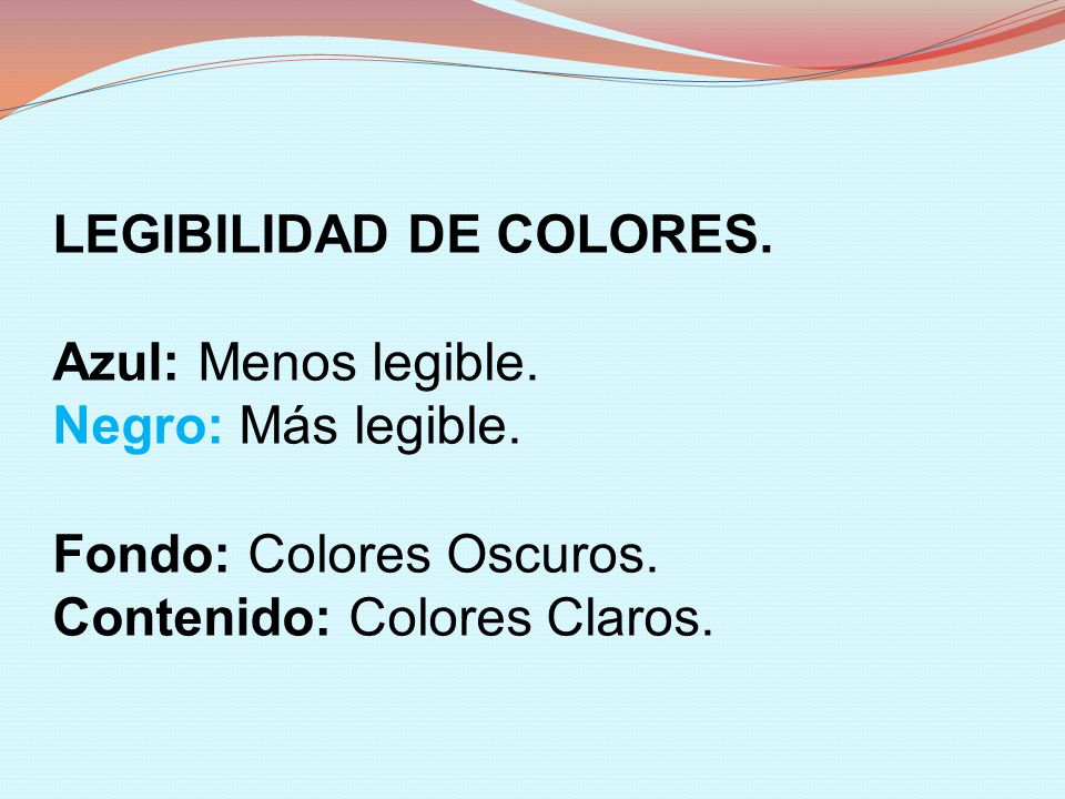 LEGIBILIDAD DE COLORES.
