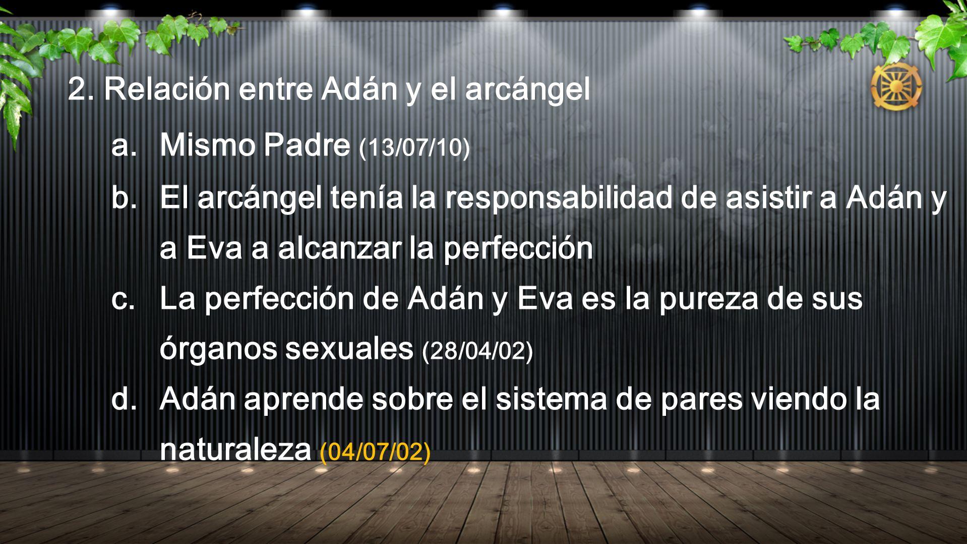 2. Relación entre Adán y el arcángel