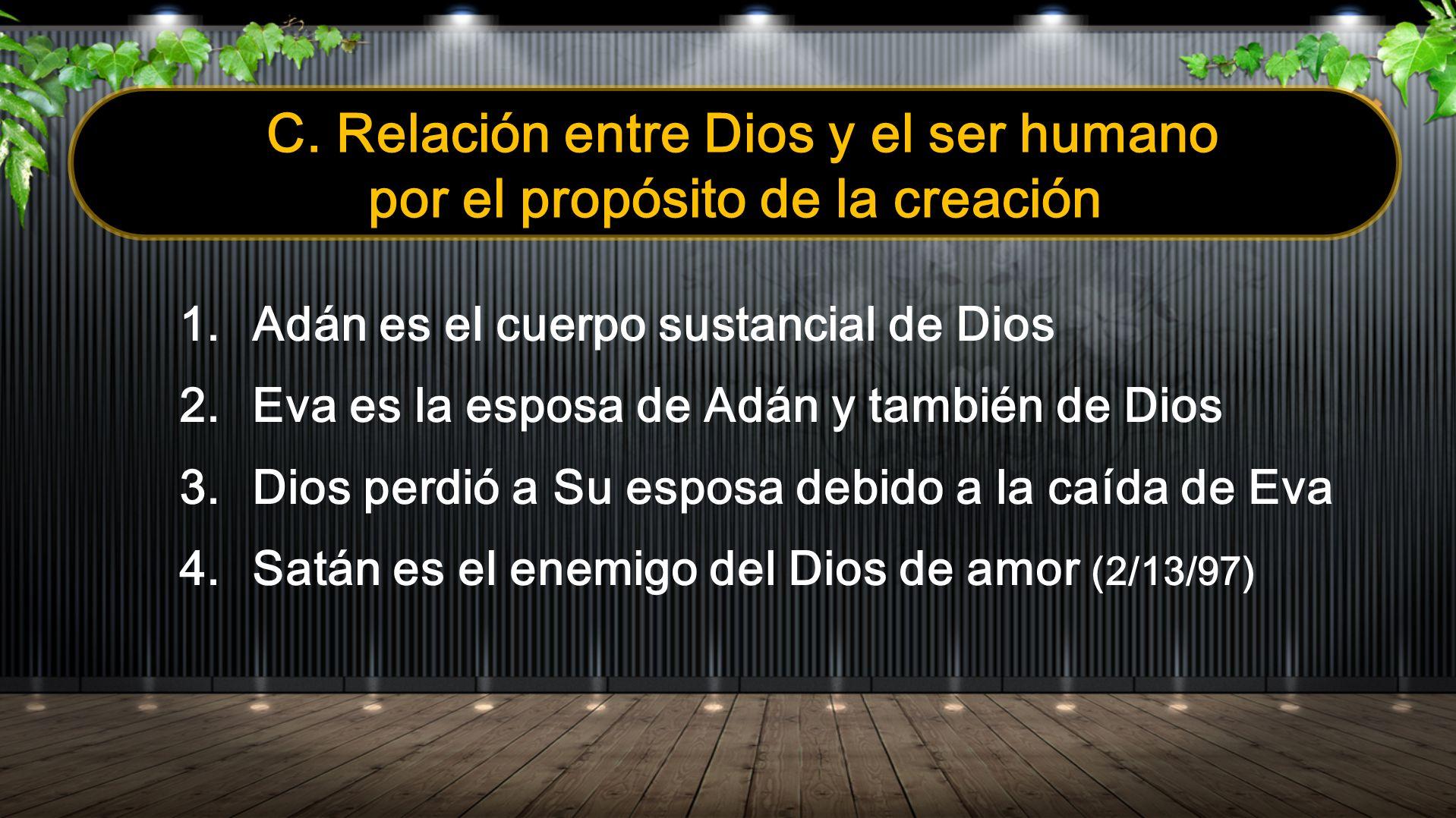 C. Relación entre Dios y el ser humano por el propósito de la creación