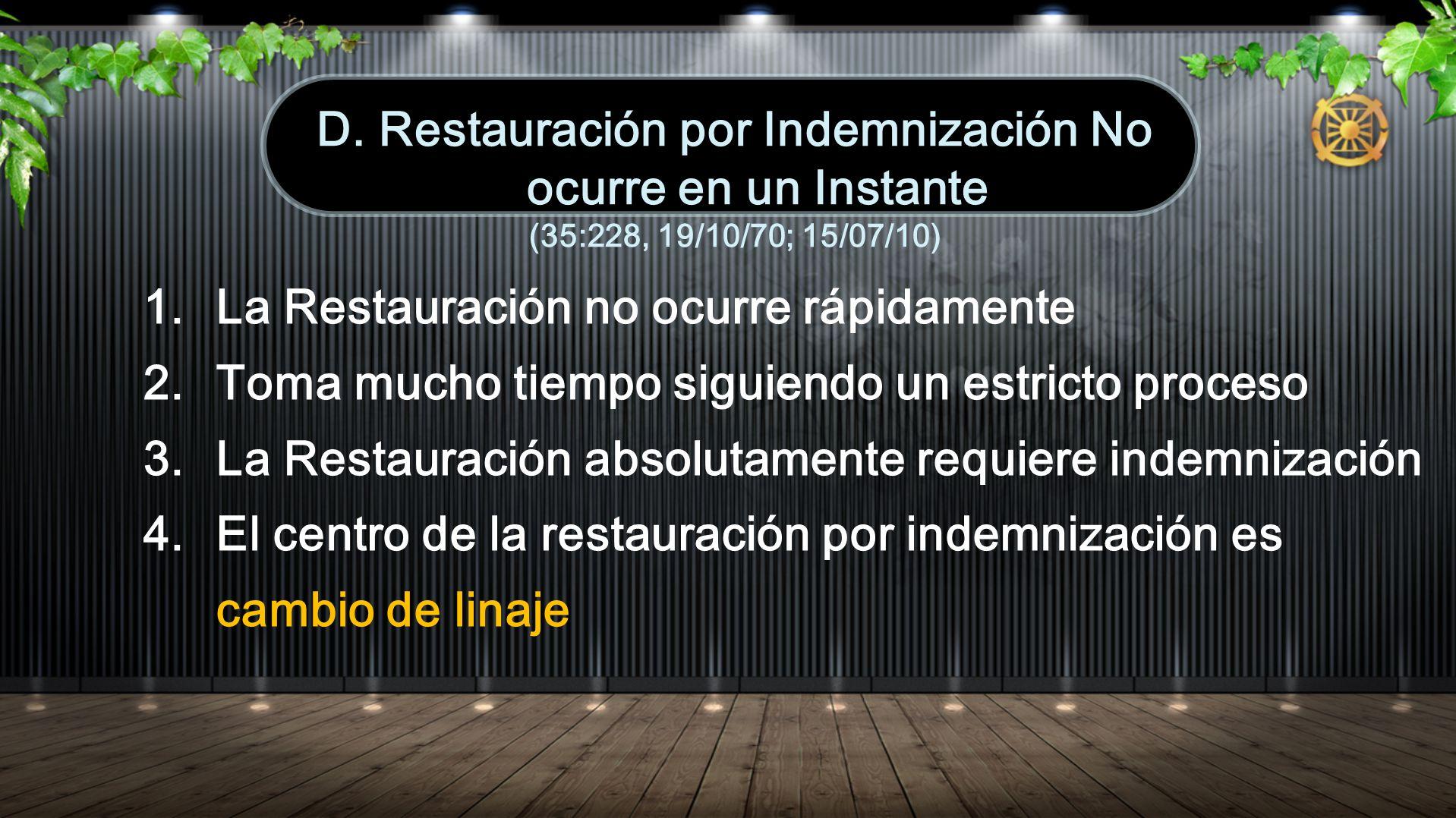 D. Restauración por Indemnización No ocurre en un Instante