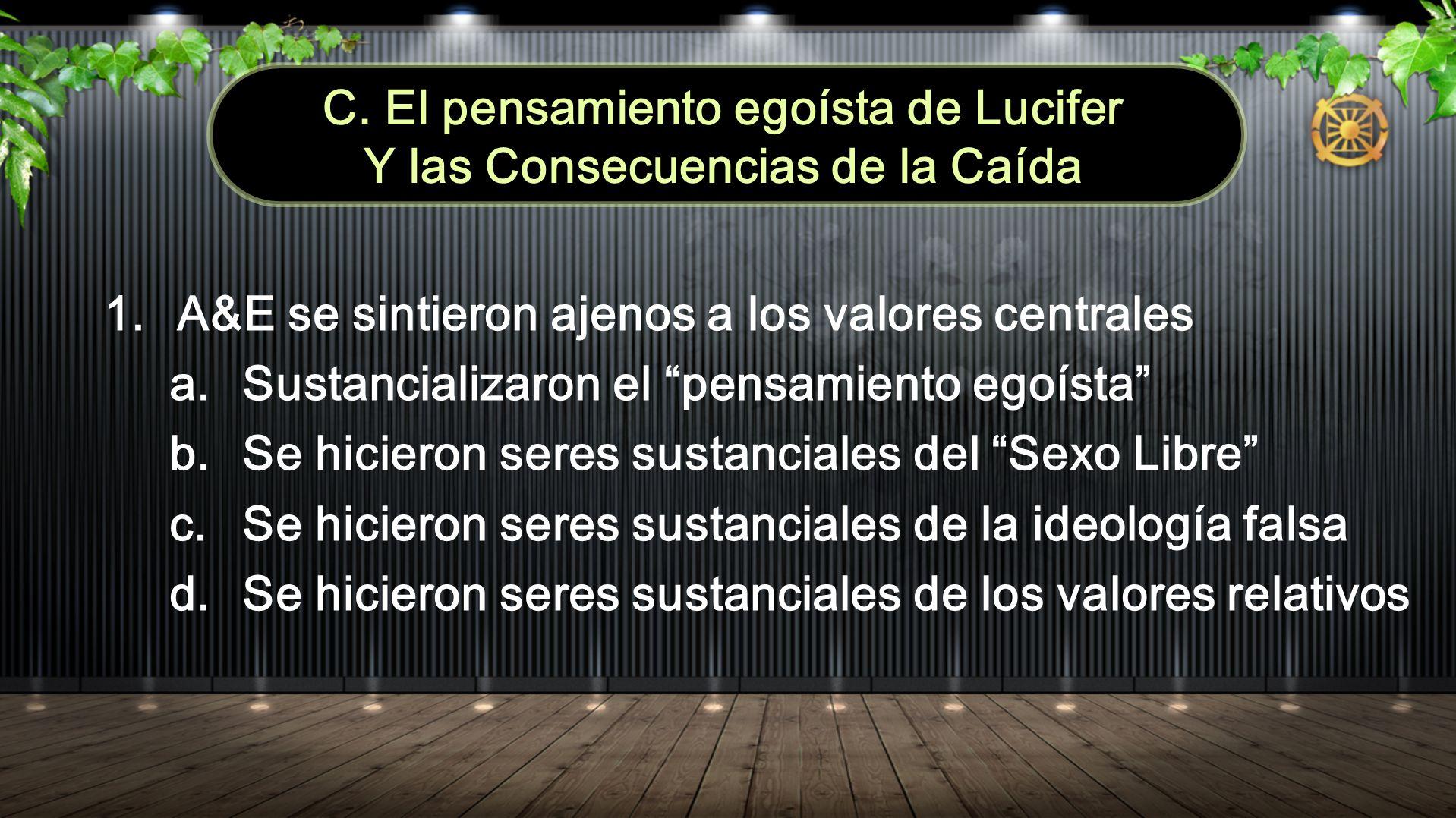 C. El pensamiento egoísta de Lucifer Y las Consecuencias de la Caída