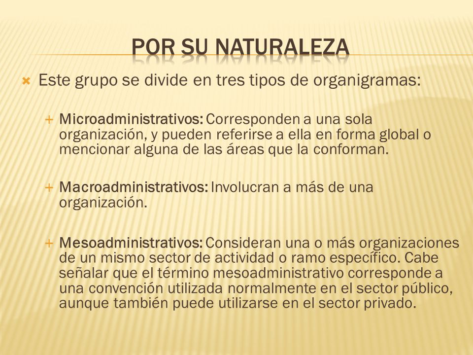 Por su naturaleza Este grupo se divide en tres tipos de organigramas: