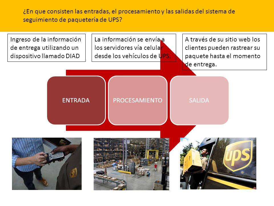 ¿En que consisten las entradas, el procesamiento y las salidas del sistema de seguimiento de paquetería de UPS