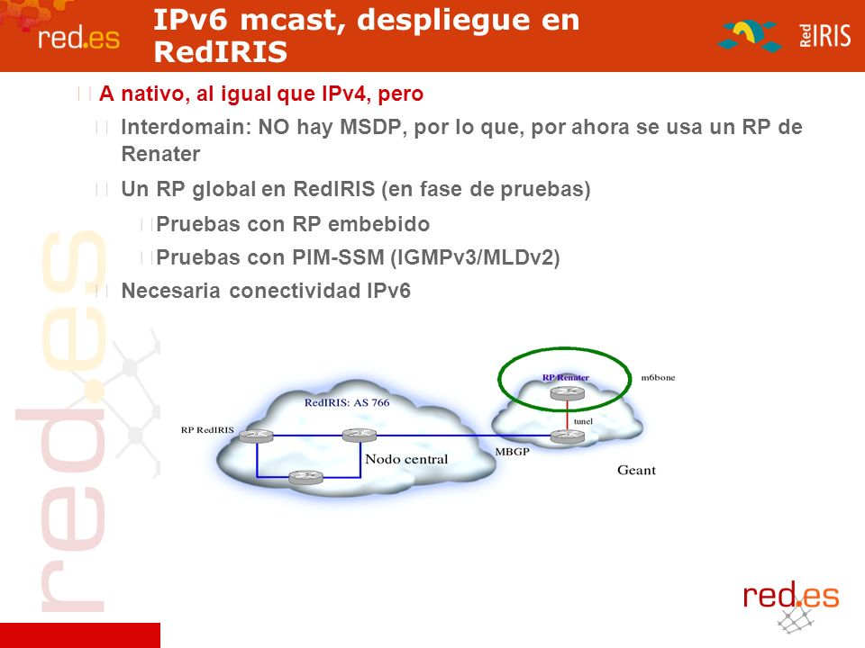 IPv6 mcast, despliegue en RedIRIS