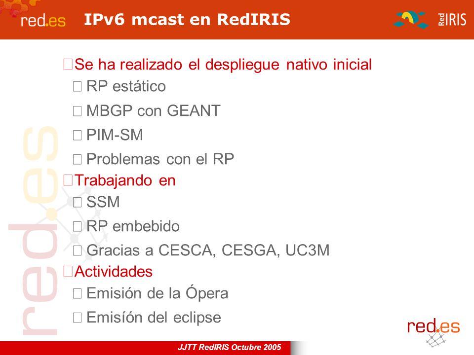 IPv6 mcast en RedIRIS Se ha realizado el despliegue nativo inicial. RP estático. MBGP con GEANT. PIM-SM.