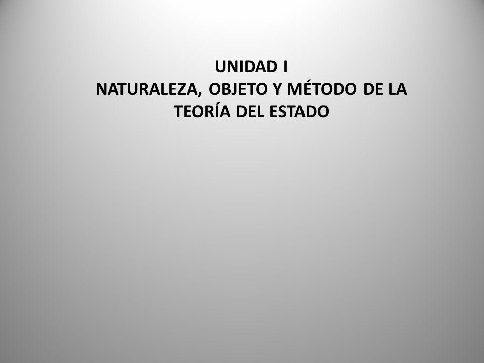NATURALEZA, OBJETO Y MÉTODO DE LA TEORÍA DEL ESTADO