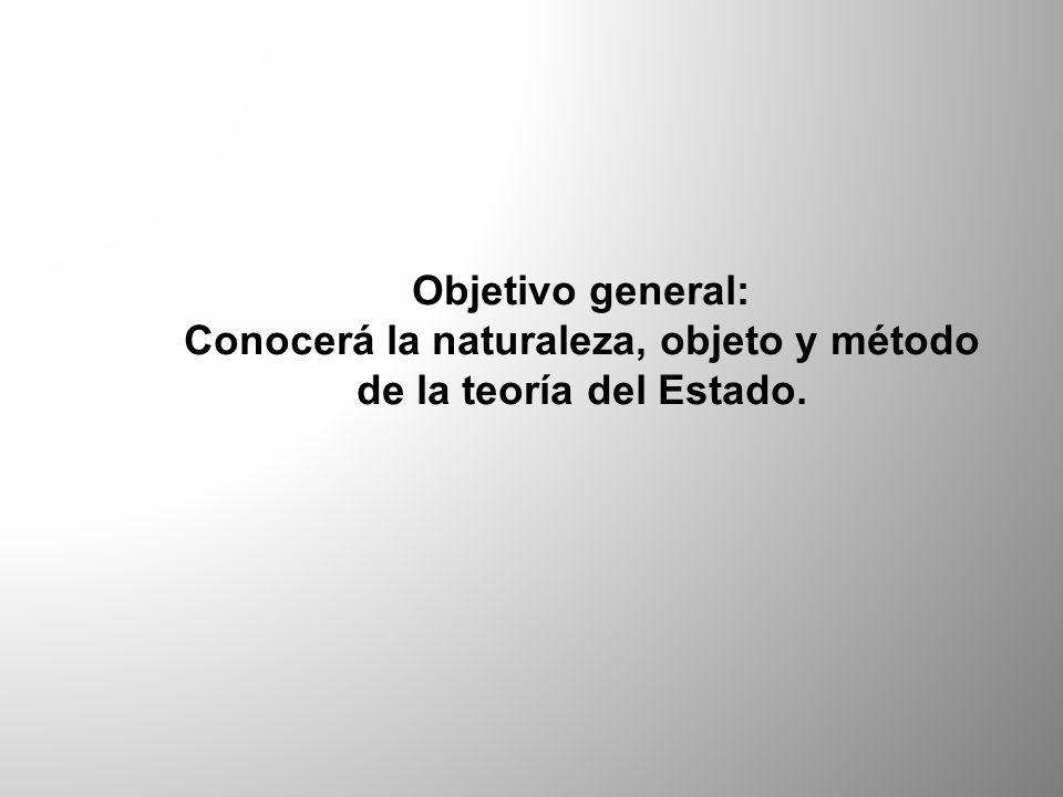 Conocerá la naturaleza, objeto y método de la teoría del Estado.