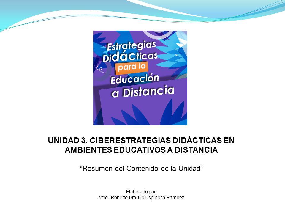 UNIDAD 3. CIBERESTRATEGÍAS DIDÁCTICAS EN AMBIENTES EDUCATIVOS A DISTANCIA