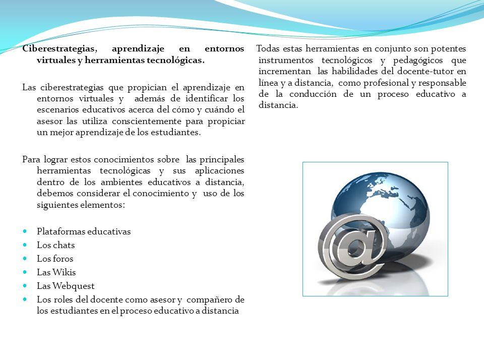 Ciberestrategias, aprendizaje en entornos virtuales y herramientas tecnológicas.