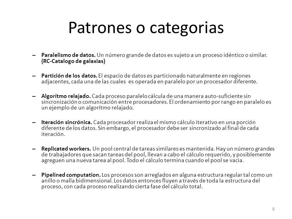 Patrones o categorias Paralelismo de datos. Un número grande de datos es sujeto a un proceso idéntico o similar. (RC-Catalogo de galaxias)