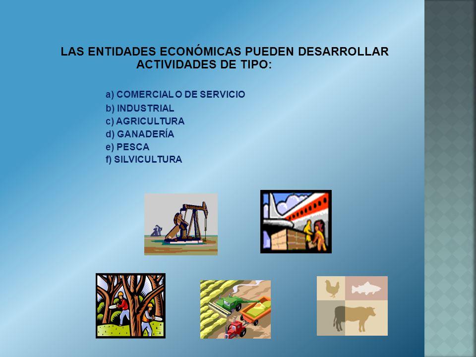 LAS ENTIDADES ECONÓMICAS PUEDEN DESARROLLAR ACTIVIDADES DE TIPO: